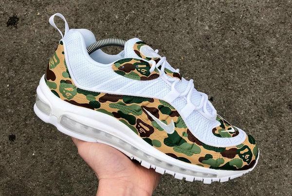 又是客制!希望这双BAPE x Nike Air Max 98鞋款也能成真?!