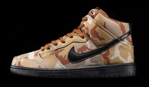Nike SB Dunk High 全新配色「Desert Camo」鞋款上架,帆布沙漠迷彩结合~