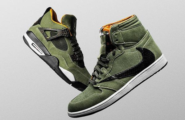 复古军布装扮,Travis Scott x Air Jordan I & IV 鞋款客制版亮相