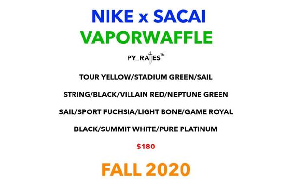 "sacai X Nike 联乘""Vaporwaffle""全新鞋款,4 双不同配色。"