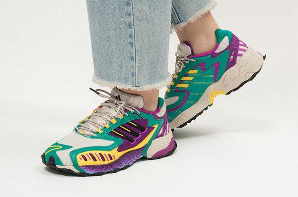 阿迪达斯 Torsion TRDC 全新紫绿白黄拼接配色鞋款释出,硬核复古