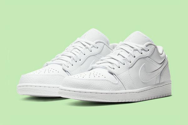 纯白 AJ1 Low 鞋款全新荔枝皮版本3.jpg