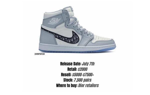 Dior x Air Jordan 1 联乘鞋款七月发售,终于等到你!