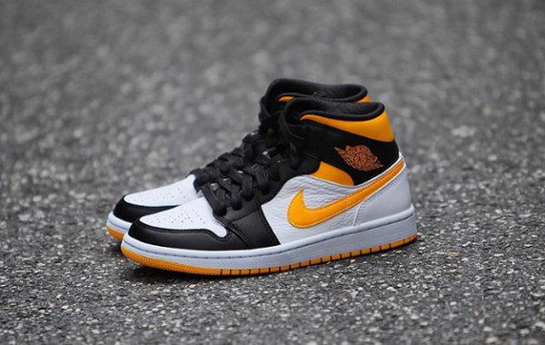 Air Jordan 1 Mid 黄黑脚趾鞋款实物曝光,十分亮眼!