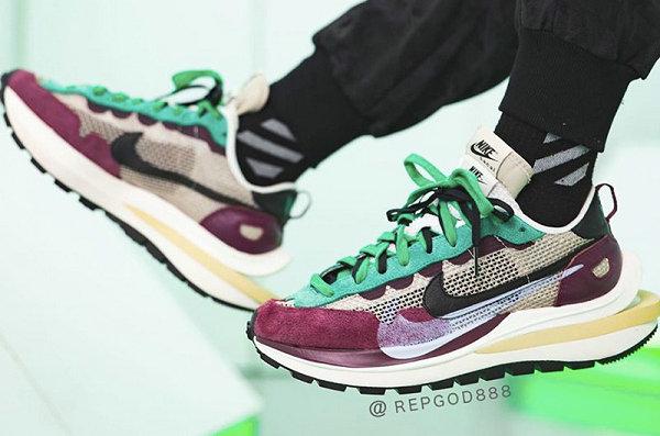 Sacai x 耐克联名 Vaporwaffle 紫绿配色鞋款上脚美图赏析